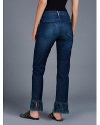 Free People Blue Fringe Cropped Jean