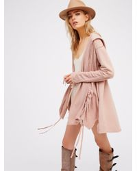 Free People | Pink Get Your Gauze Cardi | Lyst