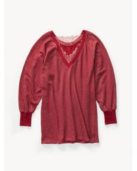 Free People Red Girl Talk Lounge Pullover