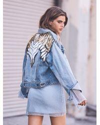 Free People Blue Glam Embellished Denim Jacket