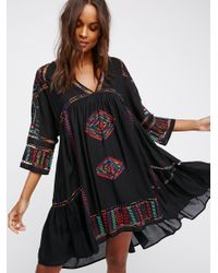 Free People | Black Greenpoint Mini Dress | Lyst