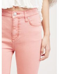 Free People Pink High Rise Roller Skinny