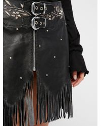 Free People Black Howdy Leather Skirt