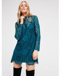 Free People | Blue Ibiza Lace Dress | Lyst