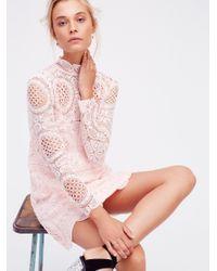 Free People | Pink Ibiza Lace Dress | Lyst