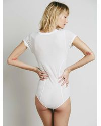 Free People - White Keeping Up Bodysuit - Lyst
