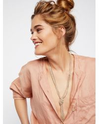 Free People - Multicolor Knotted Pearl & Chain Pendant - Lyst