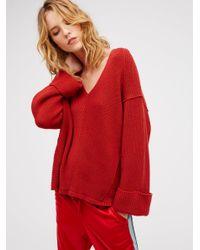 Free People   Red La Brea V-neck Sweater   Lyst