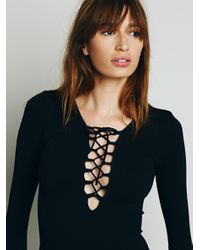 Free People - Black Lace-Up Seamless-Knit Top - Lyst
