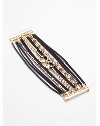 Free People - Multicolor Leather Wrap Chain Link Cuff - Lyst
