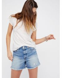 Free People | Blue Levi's High Rise Wedgie Cutoffs | Lyst
