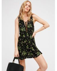 Free People | Black Lovely Day Printed Tie Tunic | Lyst