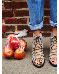 Free People | Gray Minimal Lace Up Heel | Lyst