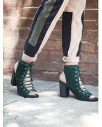Free People - Green Minimal Lace Up Heel - Lyst