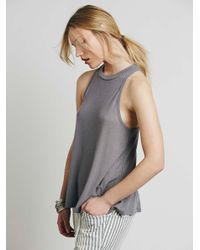 Free People | Gray Mock Me Tank | Lyst