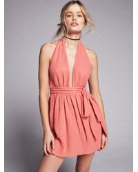 Free People | Pink Nadja Halter Dress | Lyst