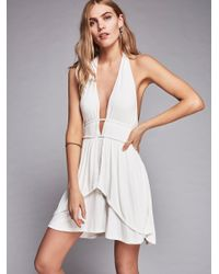 Free People | White Neptune Flare Mini Dress | Lyst