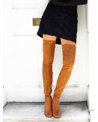 Free People | Brown Parkway Thigh High Boot | Lyst