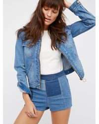 Free People | Blue Patched High & Tight Denim Shorts | Lyst