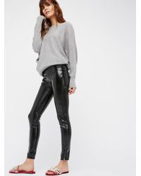 Free People | Black Patent Vegan Leather Leggings | Lyst