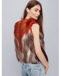 Free People Multicolor Pattern Faux Fur Vest