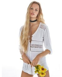 Free People | White Piecing It Together Romper | Lyst