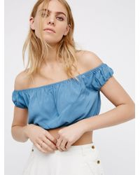Free People | Blue Prairie Days Tiny Top | Lyst