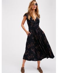 Free People | Multicolor Printed Retro Midi Dress | Lyst