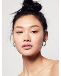 Free People - Multicolor Raw Stoned Hoops - Lyst