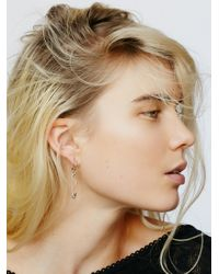 Free People | White Safety Pin Drop Hoops | Lyst