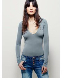Free People | Gray Seamless Solid Deep V | Lyst