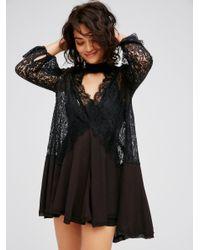 Free People | Black Secret Origins Pieced Lace Tunic | Lyst