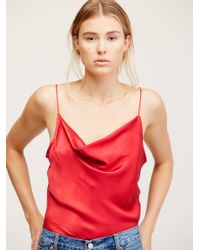 Free People Red Silk Cowl Cami