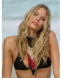 Free People | Black Simply Triangle Top Solid Tie Side Bottoms | Lyst