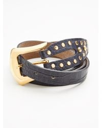 Free People - Black Sleek Stud Leather Belt - Lyst