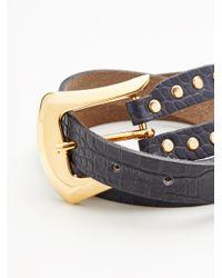 Free People - Black Sleek Stud Leather Belt - Lyst