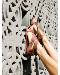 Free People | Brown Soto Washed Leather Sandal | Lyst