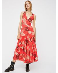 Free People | Red Sure Thing Printed Maxi Dress | Lyst