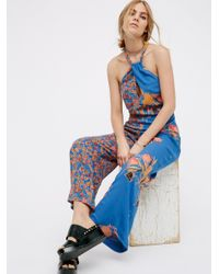 Free People Blue The Life Exotic Jumpsuit