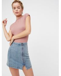 Free People | Blue This Way Or That Mini Skirt | Lyst