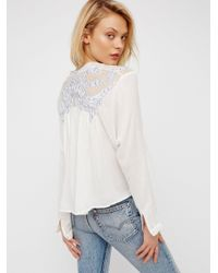 Free People White Tulips Embroidered Buttondown