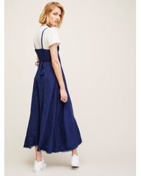 Free People Blue Walk With Me Wrap Dress