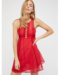 Free People | Red Wherever You Go Mini Dress | Lyst