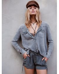 Free People | Green We The Free City Lights Henley | Lyst