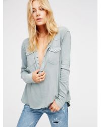 Free People | Blue We The Free City Lights Henley | Lyst