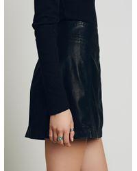 Free People - Black Zip To It Vegan Leather Mini Skirt - Lyst