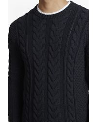French Connection - Blue Flux Cable Knit Jumper for Men - Lyst