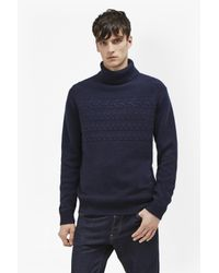 French Connection - Blue Cable Stripe Knits Jumper for Men - Lyst