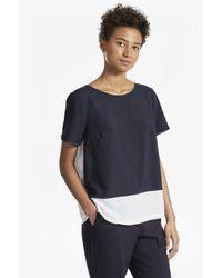 French Connection Blue Crepe Light Colour Block T-shirt