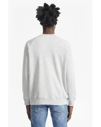 French Connection Gray Rubber V Insert Sweatshirt for men